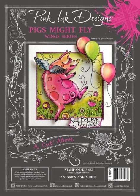 Pink Ink Designs - A Cut Above Pigs Might Fly Stamp & Die Set